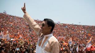 Andry Rajoelina, lors d'un meeting au stade d'Antananarivo, le 3 novembre 2018.