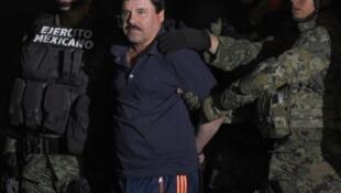 """اقتياد """"إل تشابو"""" غوسمان إلى مروحية بعد اعتقاله في مكسيكو في 8 كانون الثاني/يناير 2016"""