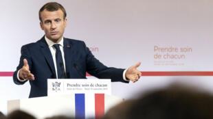 Emmanuel Macron, le 18 avril 2018, lors de la présentation de son plan santé.