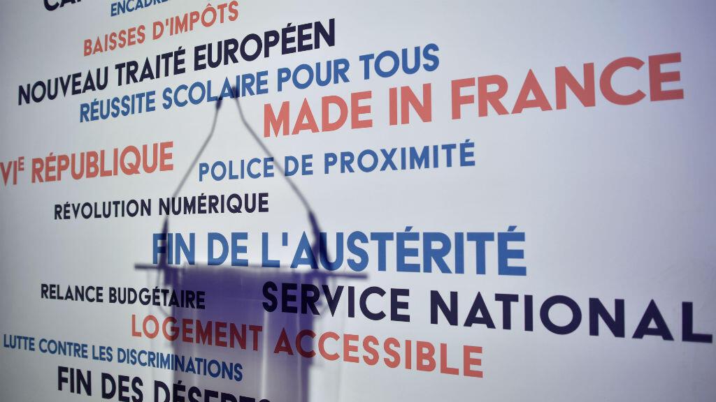 Le pupitre au QG d'Arnaud Montebourg dimanche 22 janvier.