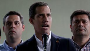 El proclamado presidente interino de Venezuela, Juan Guaidó, durante su pronunciamiento en Caracas el 21 de marzo de 2019 sobre la detención de su jefe de despacho, Roberto Marrero.