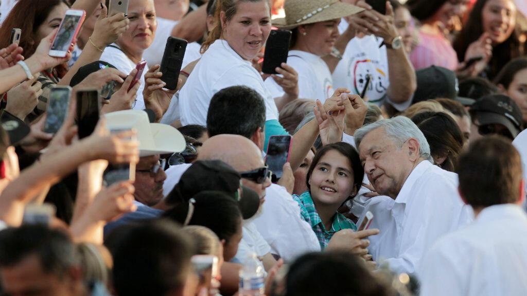 El presidente mexicano, Andrés Manuel López Obrador, a su llegada a Badiraguato, Sinaloa, el 15 de febrero de 2019.