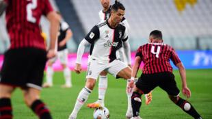 صورة من مباراة كأس إيطاليا في الدور قبل النهائي - يوفنتوس ضد ميلان، ملعب أليانز، تورينو، إيطاليا 12 يونيو 2020
