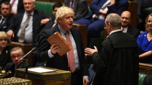 يحضر رئيس الوزراء البريطاني بوريس جونسون اجتماعًا للمشرعين لانتخاب رئيس وأداء اليمين الدستورية في لندن ببريطانيا في 17 ديسمبر 2019.