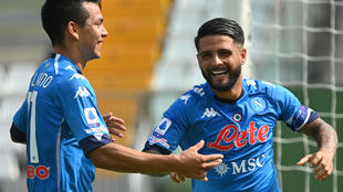 Napoli forward Hirving Lozano (L) scored twice but Lorenzo Insigne (R) went off injured.