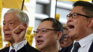 Chu Yiu-ming, Benny Tai and Chan Kin-man à Hong Kong, le 19 novembre 2018.