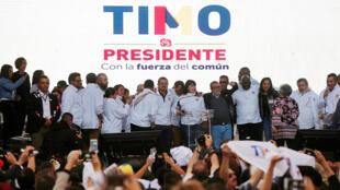 El líder de las FARC de Colombia y candidato presidencial Rodrigo Londoño, también conocido como Timochenko, durante una presentación en Bogotá, Colombia el 27 de enero de 2018.