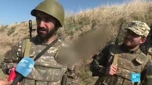 Soldiers on the front line in Nagorno-Karabakh's Maturni district.