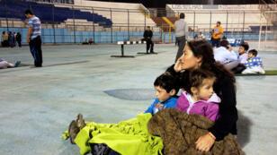 Le stade d'Iquique dans lequel se sont réfugiées de nombreuses familles