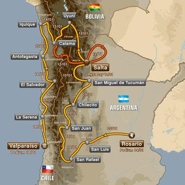 The 2014 Dakar route crosses through Argentina, Bolivia and Chile.