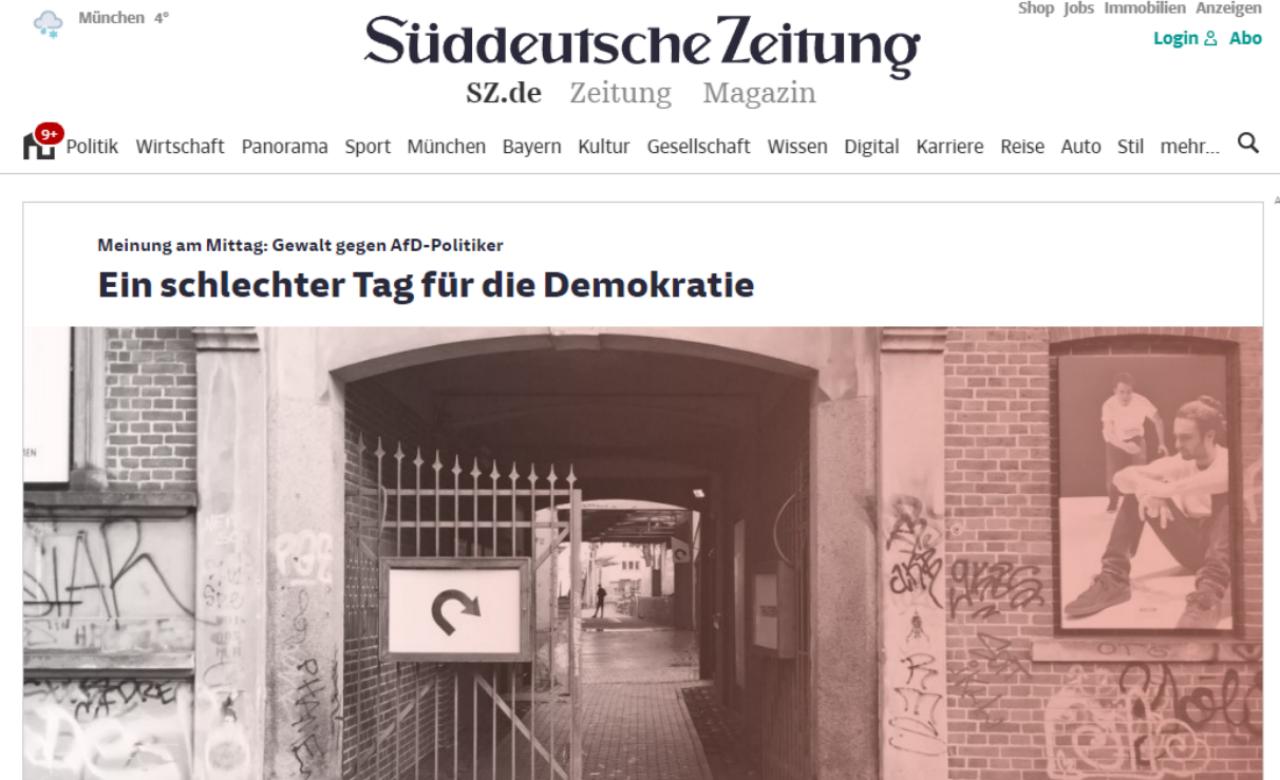 """""""C'est une triste journée pour la démocratie"""", titre le quotidien allemand Süddeutsche Zeitung, lundi 7 janvier."""