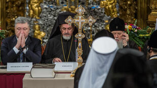 Le président ukrainien Petro Porochenko, le 15décembre2018, dans la cathédrale Sainte-Sophie, à Kiev.