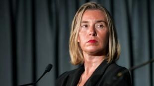 La jefa de la diplomacia europea, Federica Mogherini, en Montreal, Canadá, el 22 de septiembre de 2018