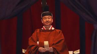 L'empereur Naruhito du Japon proclamant son intronisation, mardi 22 octobre 2019, au Palais impérial de Tokyo.