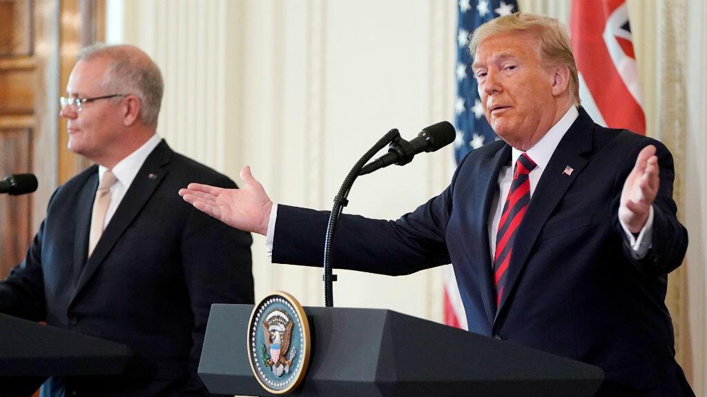 El presidente de Estados Unidos, Donald Trump, durante una rueda de prensa conjunta con el primer ministro de Australia, Scott Morrison, en la Sala Este de la Casa Blanca en Washington, EE. UU., el 20 de septiembre de 2019.
