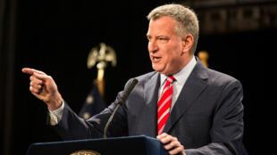 Le maire de New York Bill de Blasio lors d'un discours le 3 février 2015.