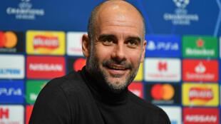 L'entraîneur espagnol de Manchester City Pep Guardiola en conférence de presse, le 25 novembre 2019 à Manchester