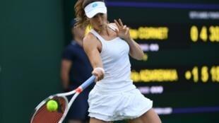La Française Alizé Cornet à Wimbledon lors du premier tour le 1er juillet 2019