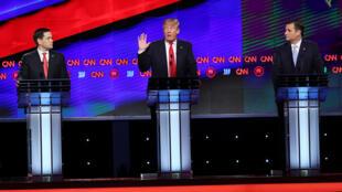 Débat républicain du 10 mars à Coral Gables, en Floride. Marco Rubio, Donald Trump et Ted Cruz s'affrontent.