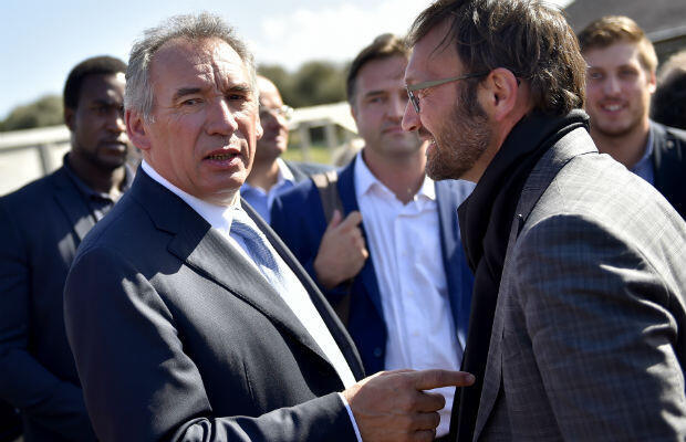 Loic Venance, AFP | MoDem party president François Bayrou (L) talks to supporters in the western French city of Guidel on September 25, 2016