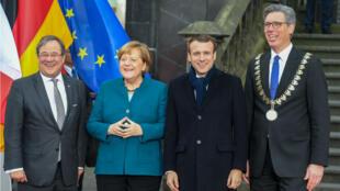 Emmanuel Macron et Angela Merkel à Aix-la-Chapelle le 22janvier.