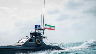 A boat of the Iranian Revolutionary Guard at undisclosed location off the coast of Bandar Abbas, Iran August 2019.