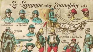 Carte postale datant de la Première Guerre mondiale sur le langage des poilus.
