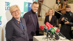 Lithuania's Homeland Union leader, Ingrida Simonyte, speaks to reporters in Vilnius,Lithuania, onOctober 11, 2020.