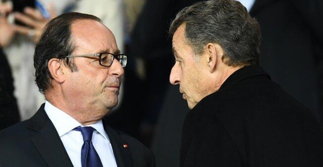 Los expresidentes François Hollande y Nicolas Sarkozy, fotografiados en 2017.
