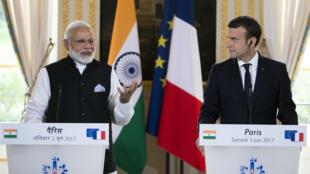Le Premier ministre indien Narendra Modi et le président français Emmanuel Macron se sont rencontrés à Paris, samedi 3 juin.