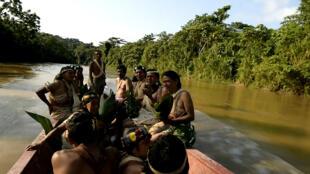 Los indígenas Waorani viven en la amazonía ecuatoriana y algunos de ellos son nómadas. Imágenes del 14 de abril de 2019.
