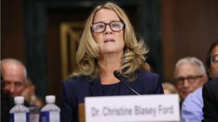 Christine Blasey Ford face à la commission du Sénat, le 27 septembre 2018.