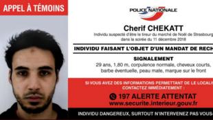 La policía francesa lanzó una persecución a Chérif Chekatt, el presunto pistolero en el tiroteo en el mercado navideño de Estrasburgo del 11 de diciembre de 2018.