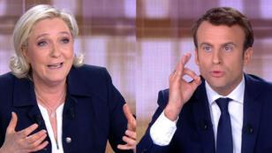 Marine Le Pen et Emmanuel Macron, mercredi 3 mai 2017, avant le débat présidentiel.