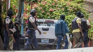 Police on the lookout for others suspected assassins of Haitian President Jovenel Moise outside the Embassy of Taiwan in Port-au-Prince, Haiti on July 9, 2021.