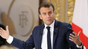 Le président Emmanuel Macron lors de la présentation de ses mesures à l'Élysée, le 25avril2019.