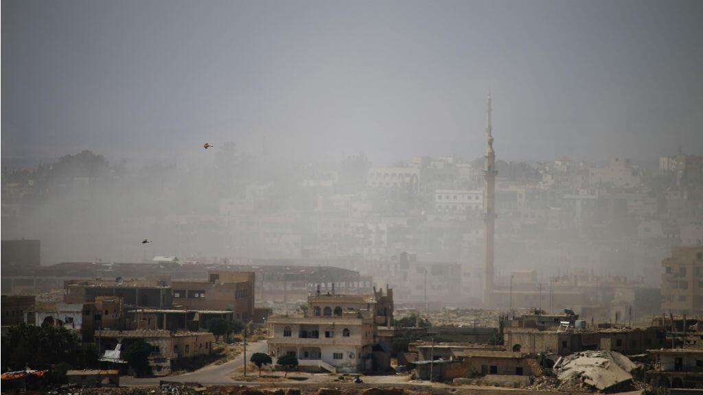 Des frappes des forces loyalistes sur la vilel de Deraa, le 30 juin.