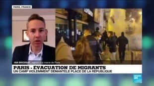 """2020-11-24 12:07 Campement de migrants démantelé: """"une honte pour la République"""" selon Ian Brossat"""