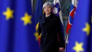 La primera ministra Theresa May llega a la cumbre europea en Bruselas, el 14 de diciembre del 2017.