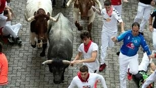 Participants run next to fighting bulls on the third bullrun of the San Fermin festival in Pamplona, northern Spain