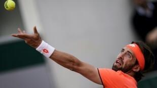 Le Géorgien Nikoloz Basilashvili lors du premier tour de Roland-Garros le 27 mai 2019