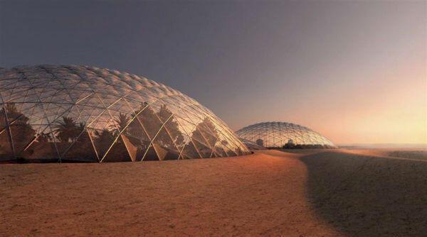 Una maqueta de la futura ciudad marciana en el desierto.