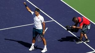 Seeking six: Five-time champion Roger Federer celebrates his quarter-final victory over Poland's Hubert Hurkacz at the ATP Indian Wells Masters