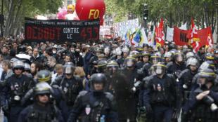 مظاهرة ضد غصلاح قانون العمل في باريس في 17 مايو/آيار 2016