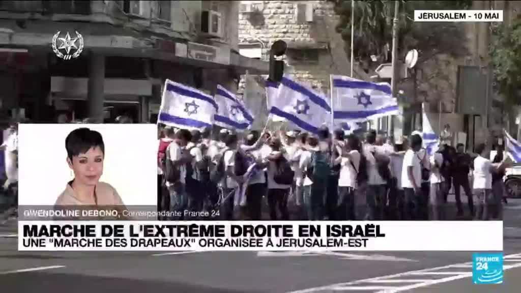 """2021-06-15 17:06 Israël : une """"marche des drapeaux"""" qui fait craindre une reprise des affrontements"""