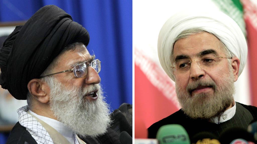 L'ayatollah Khamenei (à gauche) et le président iranien Hassan Rohani ont tous les deux mis le holà après l'accord de Lausanne.