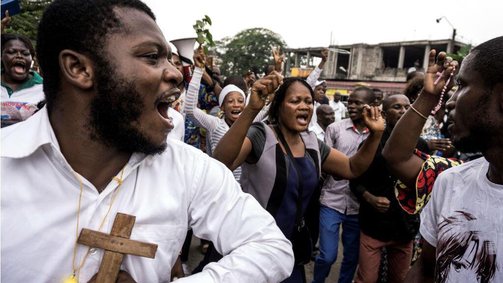 Des chrétiens manifestent contre le président Joseph Kabila, le 31 décembre 2017 à Kinshasa.