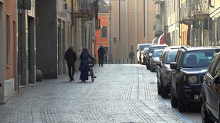A street in the northern Italian town of Codogno, where officials have told residents to stay home and suspend public activities amid a spike in cases of coronavirus.