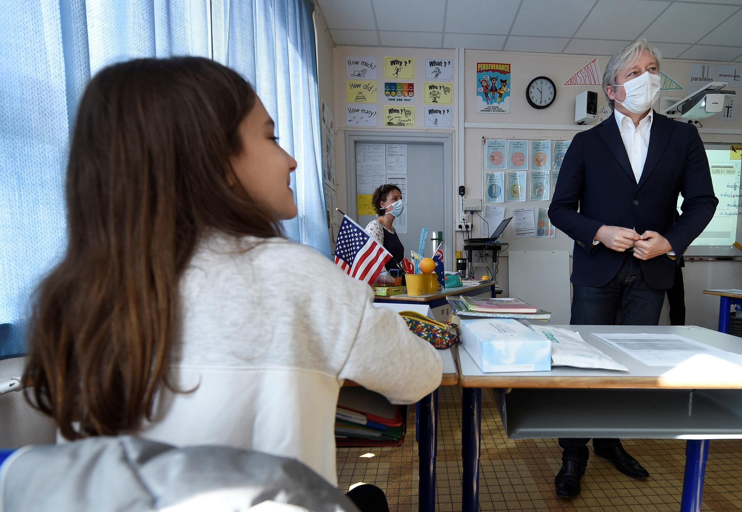The Mayor of Nancy, Laurent Henart, visits the Placieux elementary school in Villers-les-Nancy, two days after France eased lockdown measures on May 11 to curb the spread of the COVID-19 pandemic.