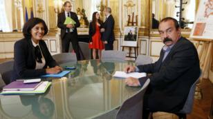 وزيرة العمل مريم الخمري وفيليب مارتينيز رئيس الاتحاد العام للشغل سبتمبر/أيلول 2015